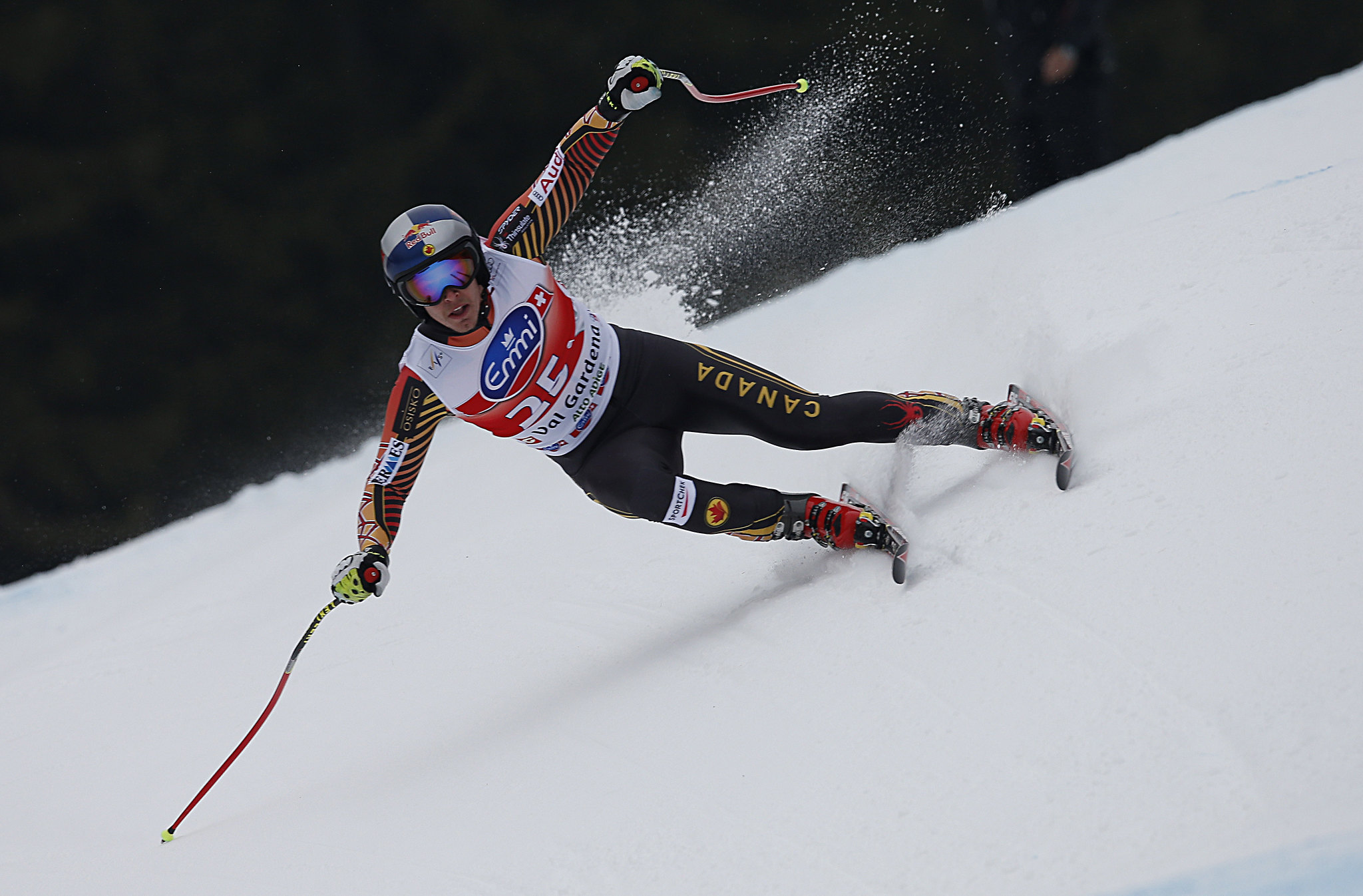 Erik Guay enroute to a 6th place finish in the Super-G in Val Gardena, ITA