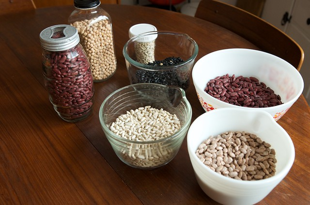 dry beans in bowls and jars