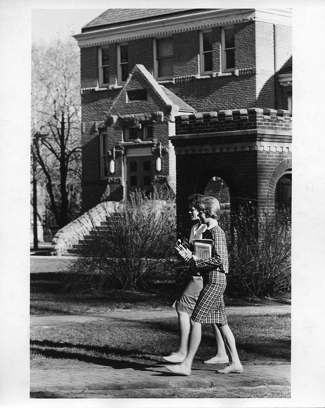 Students Walking Outside South Side of Alumni Hall After 1960