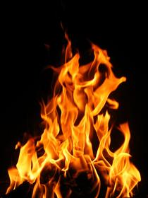 Fire rising high