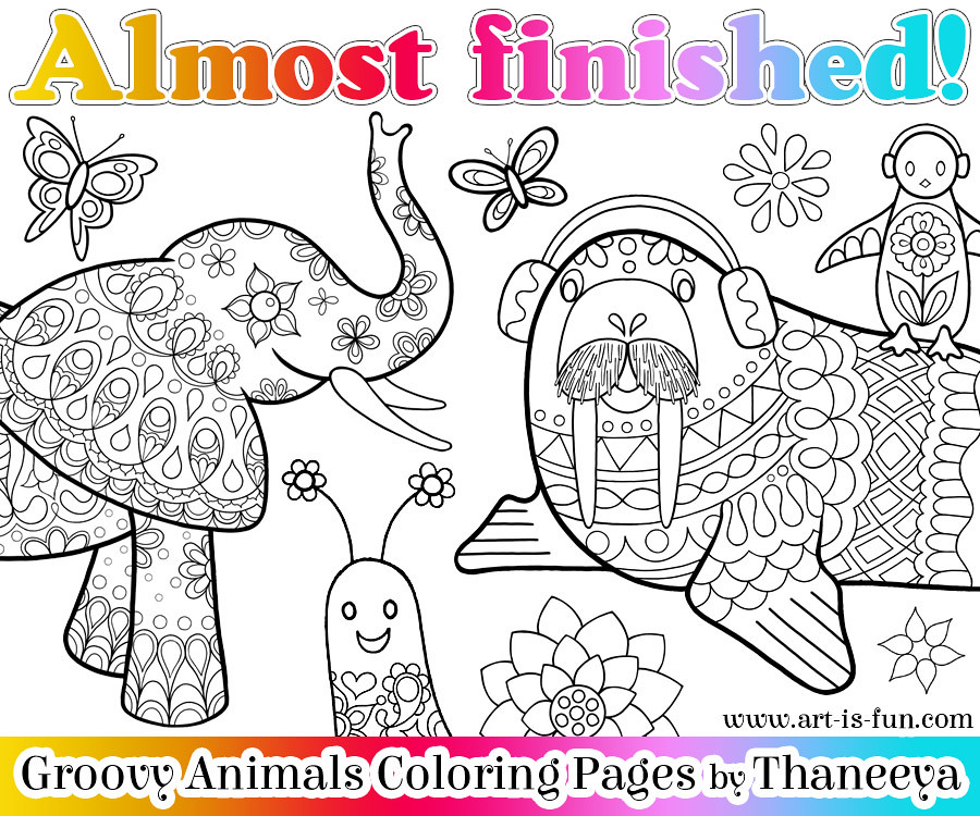 Sneak Peek Groovy Animals Coloring Book By Thaneeya McArdle
