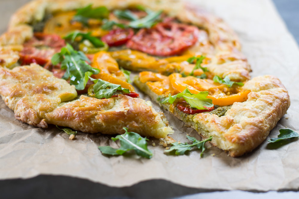 Heirloom Tomato Galette with Arugula Pesto via LittleFerraroKitchen.com