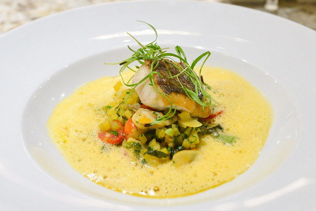 "CRISPY STRIPED BASS saffron potato ""risotto"", frutti di mare & cherry tomatoes"