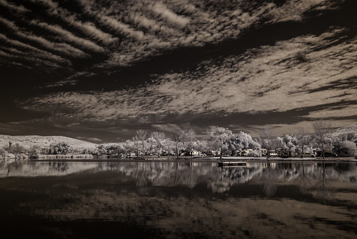 santeelakes ir infrared infraredphotography nature clouds reflections trees highcontrast convertedinfraredcamera water sky