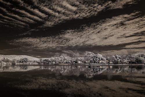 santeelakes ir infrared infraredphotography nature clouds reflections trees highcontrast convertedinfraredcamera water sky