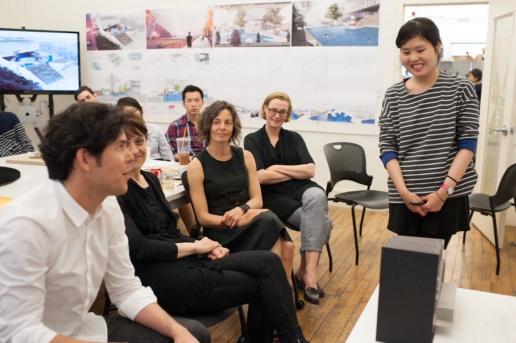 M.Arch. student Seijin Na presenting her work to reviewers.