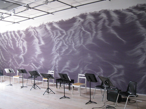 Wandelweiser + Bozzini in Victoria - Music stands in front of Wendy Hough, Wall Drawing