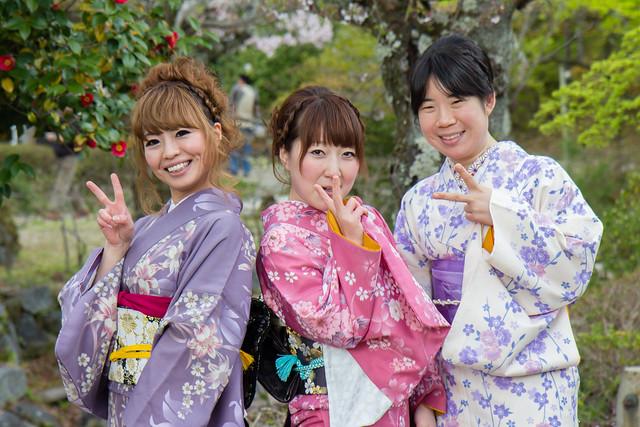 Kyoto - Maruyama kōen - Japonaises en kimono