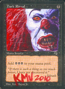 Dark Ritual It Pennywise the Clown IT series altered art magic Ken Myer Jr magic altered art mtg card artwork magic the gathering art