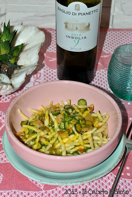 Trofiette con fiori di zucchina e gamberetti (1)