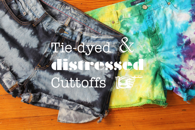 Tie-dyed distress denim shorts cutoffs