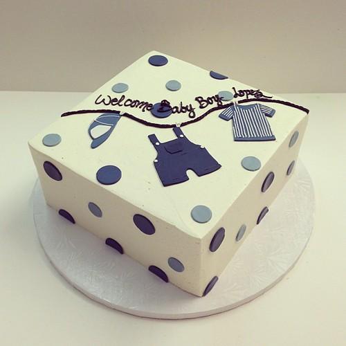 Baby boy shower cake #polkadotscupcakefactory