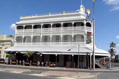 Stunning iron lace work on a three storey veranda hotel in Rockhampton. Built in the 1890s to rival any hotel in Brisbane. It was the Commercial.