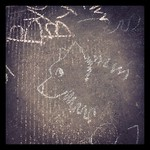 Fuzzy necked doggie - chalk drawings at #helsinkicomicsfestival