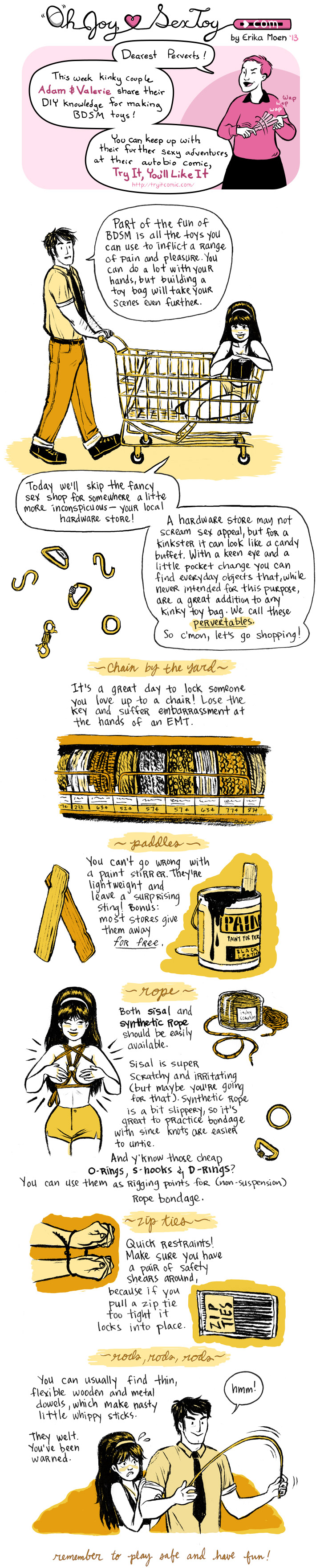 A comic about stocking up on BDSM supplies from hardware stores