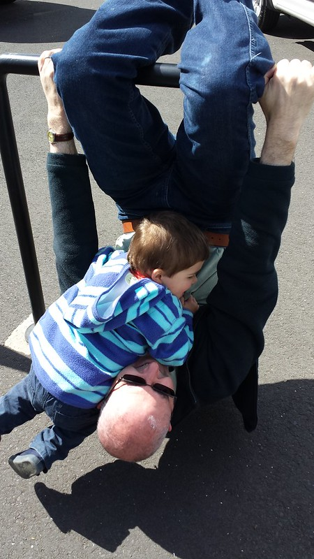 Daddy was swinging from a pole, so Eskil thought he'd grab a ride