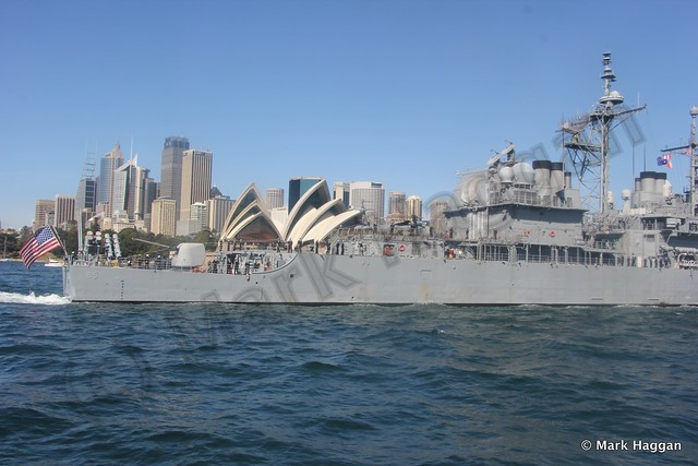 The USS Chosin sails by Sydney Opera House during the International Fleet Review, Sydney, Oct 2013