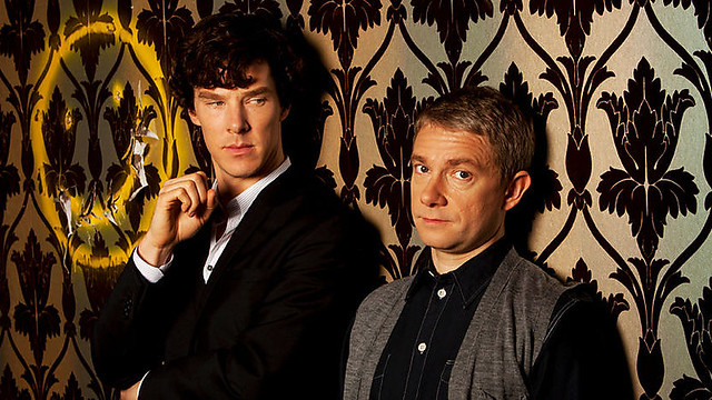 In the new BBC show, Sherlock stares at Watson, who stares out at the audience.