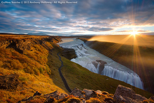 sunrise waterfall iceland fv10 gullfoss