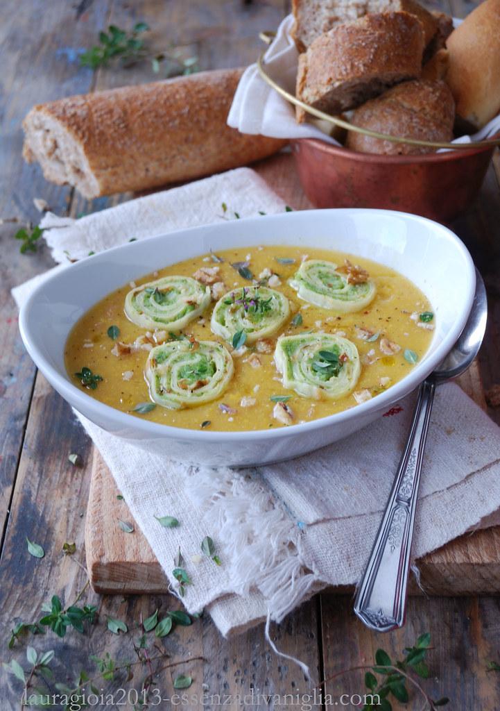 vellutata di zucca e mais con crespelle ai broccoli