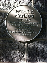 Photo of Patrick Manson yellow plaque