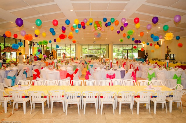 rainbow themed party ceiling