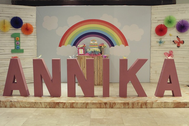 rainbow themed party stage