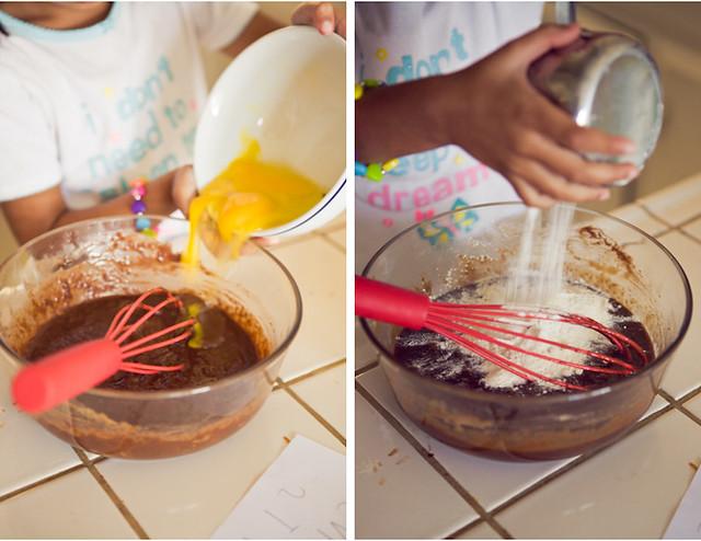 Add eggs and flour