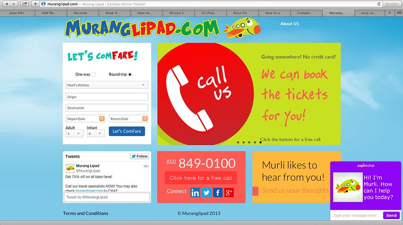 How to use the web call button of muranglipad com to book for Site for cheapest flights