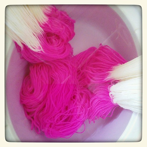 It's like a highlighter threw up in my dye pot. #yarn #dyeing #pink