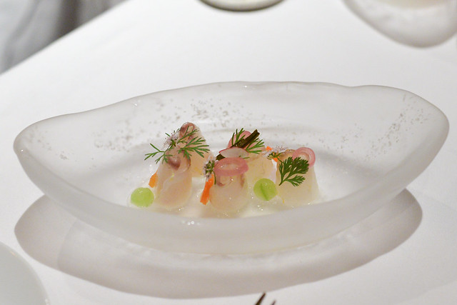 wild fluke (virginia) pickled vegetables, coriander, pickled ginger