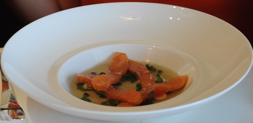 Guy Savoy Singapore's Salmon - Cold Seared over Dry Ice