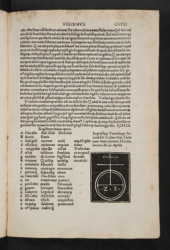 Colophon and printer's device in Gellius, Aulus: Noctes Atticae