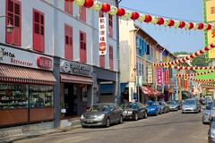Traditional shop houses on Temple street in Chinatown, Singapore