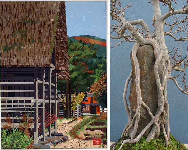 Harie paper collage by Junko Yamada (left); photo by Becket Logan. The C.V. Starr Bonsai Museum; photo by Julian Velasco.