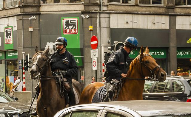 Policia montada en el centro de Bruselas