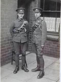 Hucknall ... Carl Bamkin, left, and friend off to war.