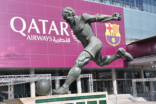 Barcelona. Camp Nou, Futbol Club Barcelona Stadium. Monument to Laszlo Kubala. 2009. Montserrat Garcia Rius, sculptor.