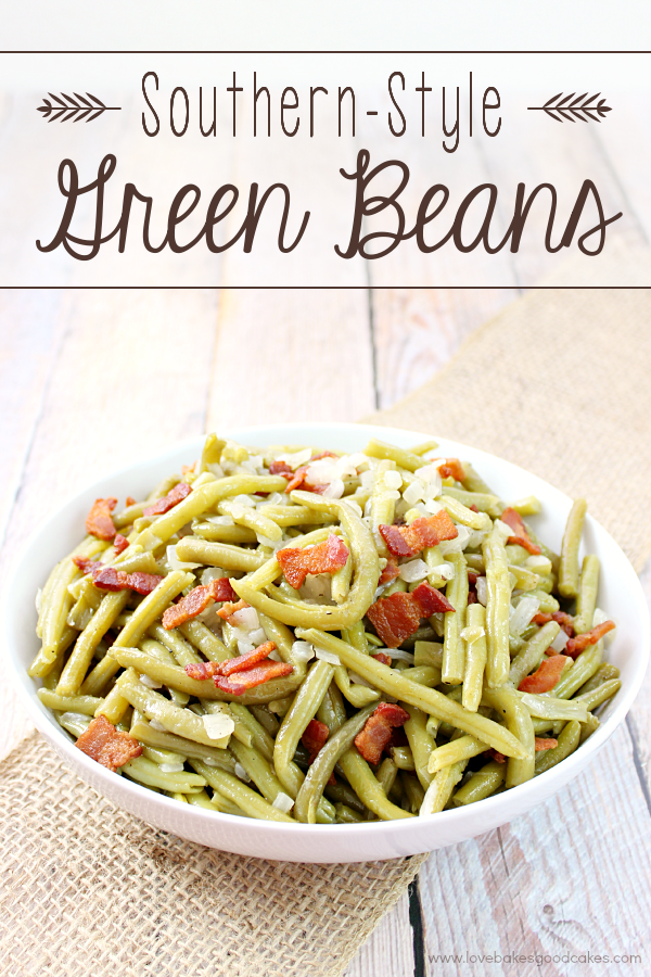 These Southern-Style Green Beans are sure to become a family favorite! The green beans are cooked long and slow to give you the BEST tasting green beans you will ever eat!! #BaconMonth2015