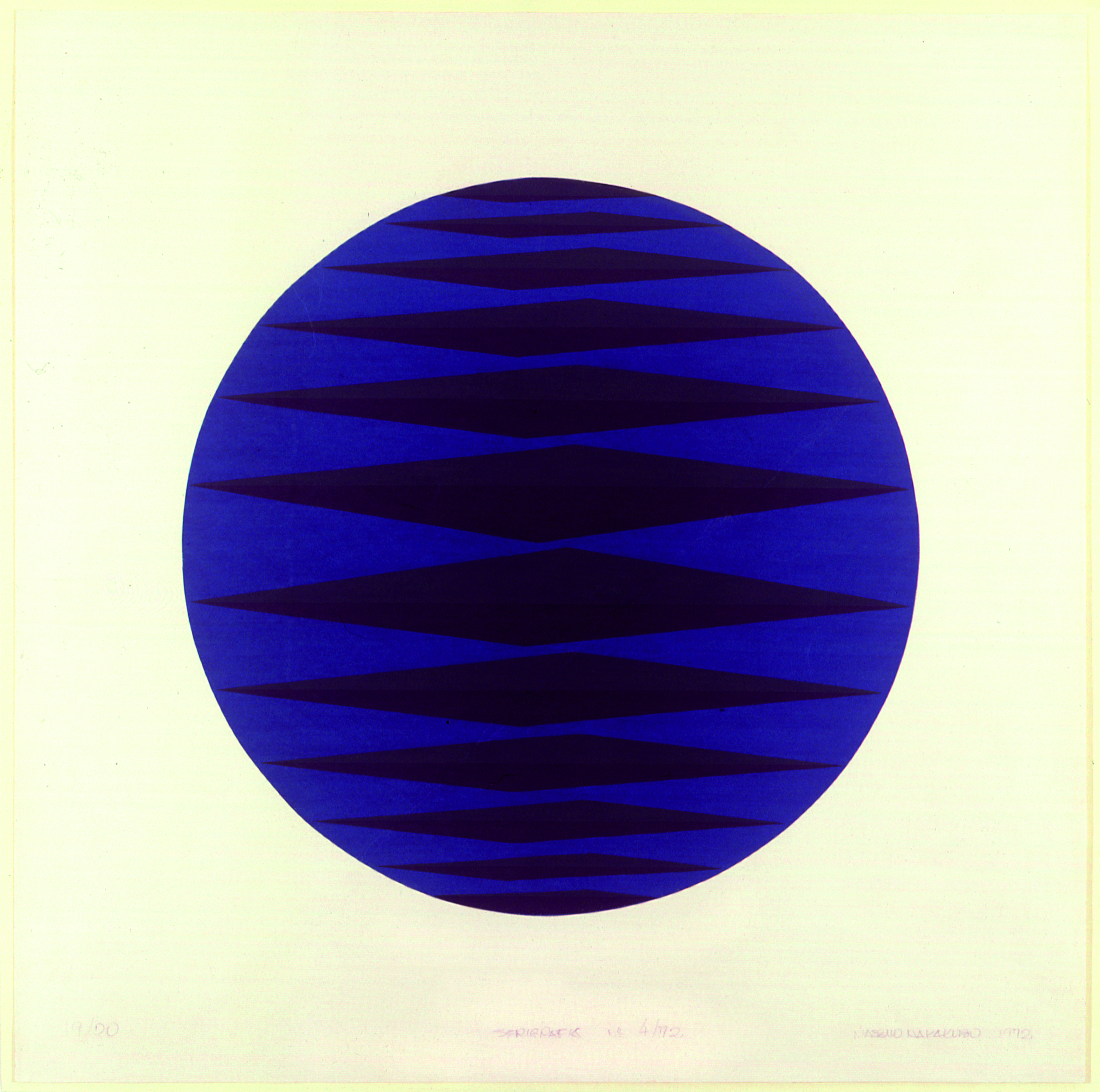 Serigrafia número – 4/72 Autor: Massuo Nakakubo Ano: 1972  Técnica: Serigrafia (19/20)  Dimensões: 0,50cm x 0,50cm