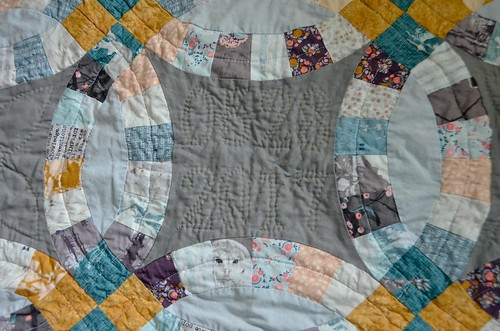 Complex design, hand-quilted