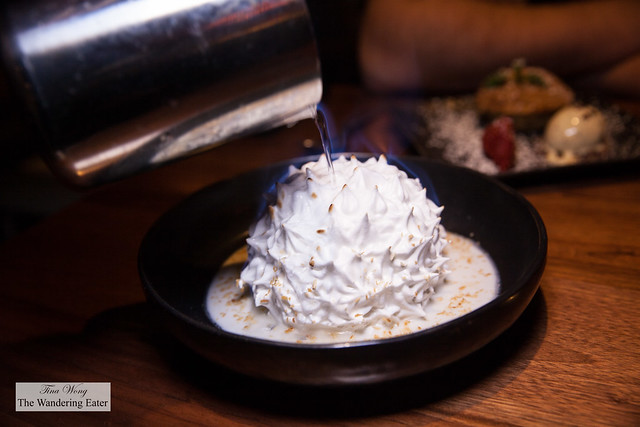 Fire & Ice - Guava & passionfruit ice creams, flaming meringue, coconut-lime sauce (in other words, a baked Alaska)