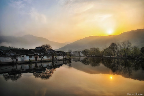 china trees sunset lake reflection colors beautiful rural sunrise pond ancient nikon warm village traditional chinese surreal 中国 风景 tranquile anhui 日出 早晨 美 hongcun 安徽省 amireltahan