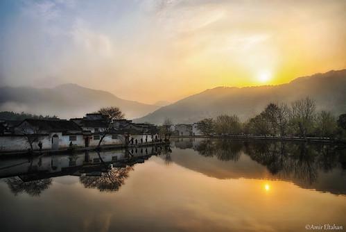 china trees sunset lake reflection colors beautiful rural sunrise pond ancient nikon warm village traditional chinese surreal 中国 风景 tranquile anhui 日出 早晨 美 hongcun 安徽省 amireltahan