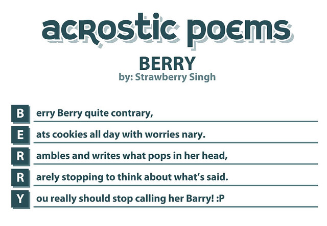 This is a poem I wrote myself and used the Acrostic Poems Website to ...