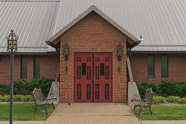 Saint Gerald Roman Catholic Church, in Gerald, Missouri, USA - exterior door