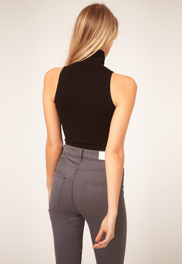 ASOS PETITE Crop Top With Polo Neck