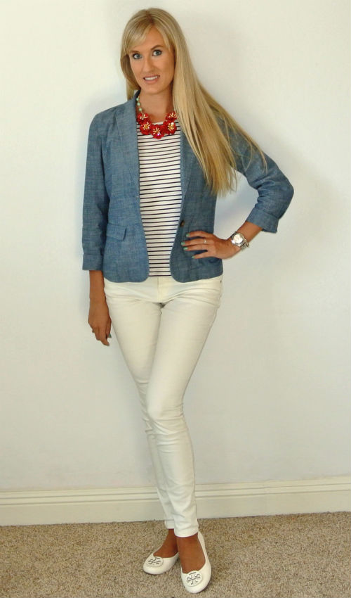 OOTD: stripes + chambray blazer