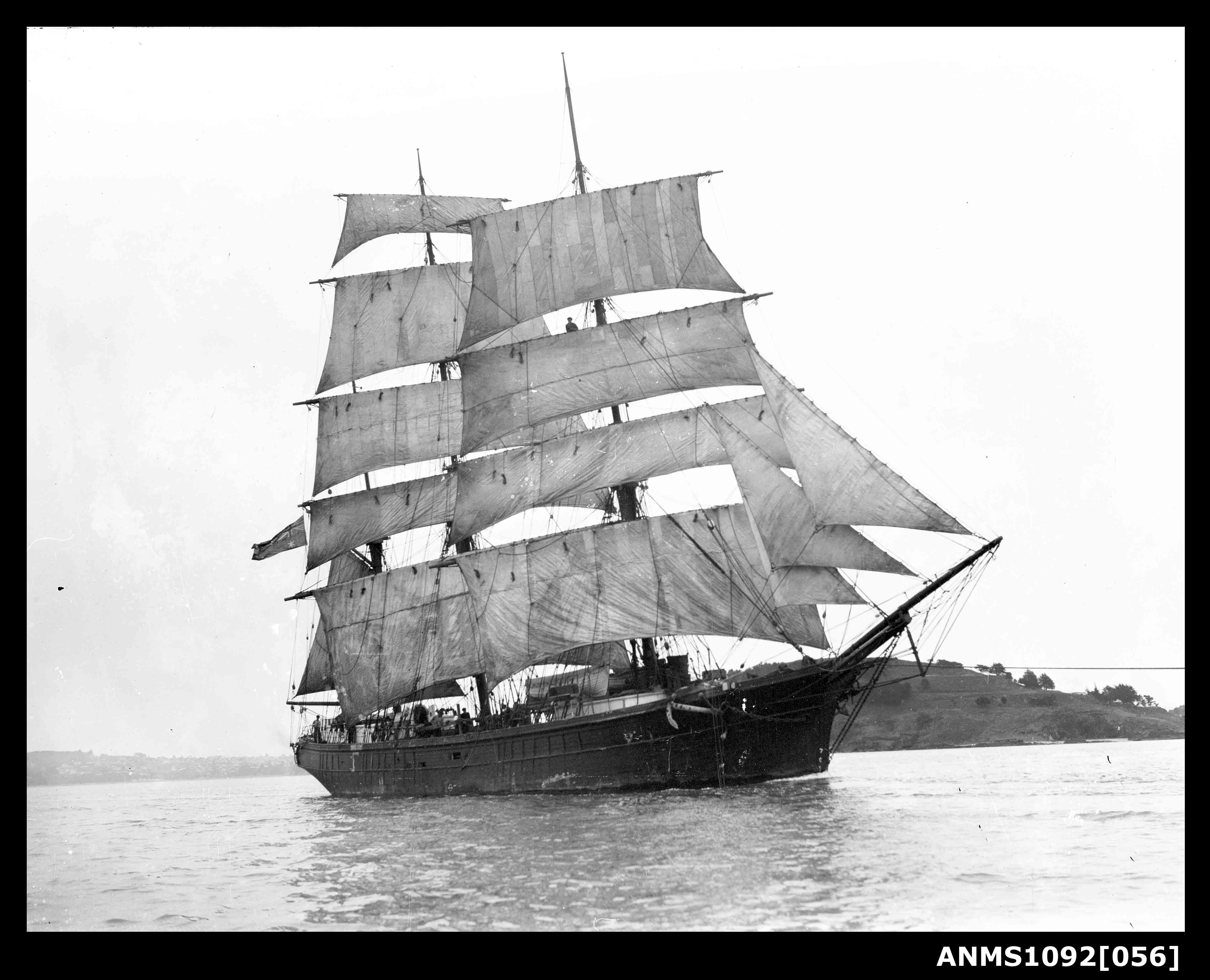 Barque underway with sails set
