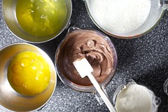 egg whites, milk, vanilla cream, yolks, chocolate cream